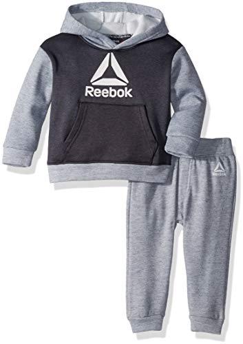 Reebok - Sudadera con Capucha y pantalón para bebé, Blanco Jaspeado Gris (White Heather Grey), 12 Meses