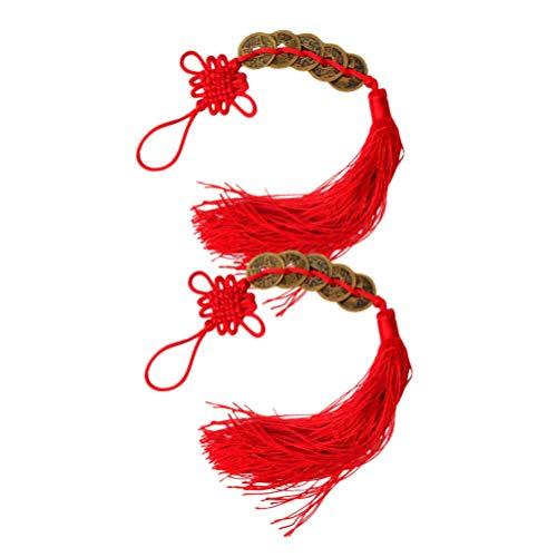 Holibanna 2 peças moedas chinesas Feng Shui nó vermelho moedas da sorte tradicional antiga dinastia chinesa lembrança para decoração de ano novo de 2021