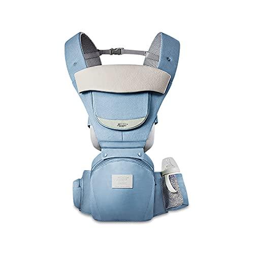 SONARIN Mochila Portabebés Multifunción 3 en 1 con Asiento de Cadera,100% Algodón 3D Air Mesh Portabebés Transpirable para 0-36 Meses,Ergonómico,Ajustable,Todas las Posiciones,Hasta 30 KG(Azul)
