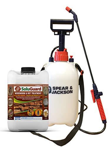 Soluguard Woodworm and Rot Treatment (1x5L & Sprayer) Ready for Use & Spear & Jackson Sprayer