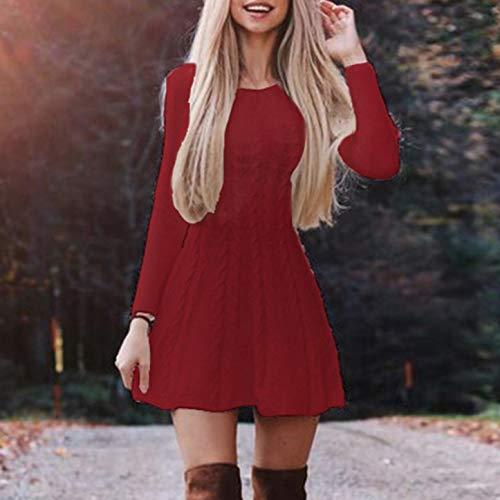 WFAL opmerkelijke Vrouwen Mode Gebreide Trui Warm Jurk Dames Slim Fit Effen Kleur Grote Swing Jurk