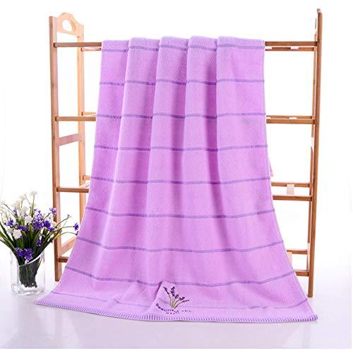 Volwassen geborduurde katoenen badkamer Strand absorbeert water Badlaken Handdoek Badjas Paars 70x140cm