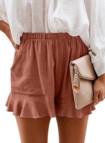 Paitluc High Waisted Shorts for Women Casual Solid Elastic Waist Scalloped Fitted Summer Beach Lounge Shorts Orange M
