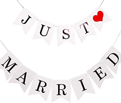 Just Married Girlande Vintage Rustikal Wimpelkette Banner mit Seil Hochzeitsgirlande als Deko für Hochzeit Fest Party Brautdusche Junggesellinnenabschied oder Foto Photo Booth Fotografie