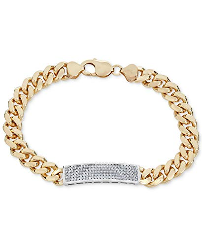 3.70Ctw ronde gesneden gesimuleerde diamant mannen Tennis armband 14K geel goud afwerking