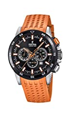 Stainless steel round case Water resistance to 100 meters rubber strap with classic stainless steel buckle Hardened mineral glass Chronograph functions