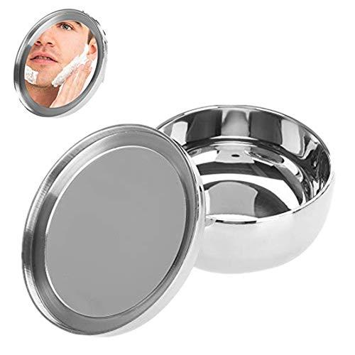 Rasierseife-Schüssel, Universalmann-Edelstahl-Bart-Rasierseifen-Schüssel, die Becher-Behälter mit einem Spiegel rasiert