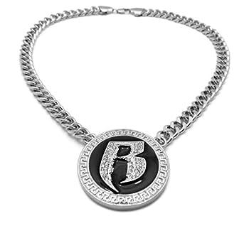 BLINGFACTORY Hip Hop White Gold PT R Ruff Ryders Pendant & 18  Cuban Choker Chain Bling Necklace