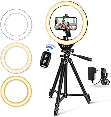 "10"" LED Selfie Ring Light with Stand and Phone Holder, Torjim Dimmable Circle Light for Photography, Makeup, Vlogging, Live Streaming, Camera Video Recording, Compatible with iPhone Android from Torjim"