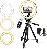 """10"""" LED Selfie Ring Light with Stand and Phone Holder, Torjim Dimmable Circle Light for Photography, Makeup, Vlogging, Live Streaming, Camera Video Recording, Compatible with iPhone Android"""