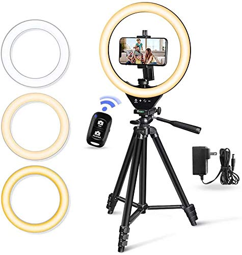 "10"" LED Selfie Ring Light with Stand and Phone Holder, Torjim Dimmable Circle Light for..."