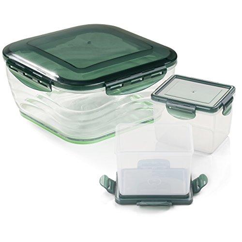 Genius Nicer Dicer Chef Auffangbehälter groß & klein inkl. Deckel (6 Teile) - perfekt als Servierschüssel oder für Meal-Prep mit sicherem Verschließen