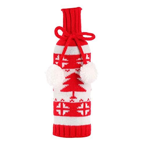 Amosfun Ugly Sweater - Funda para botella de vino de Navidad, para botellas de vino, para vacaciones, para decoración de mesa de Navidad (árbol)