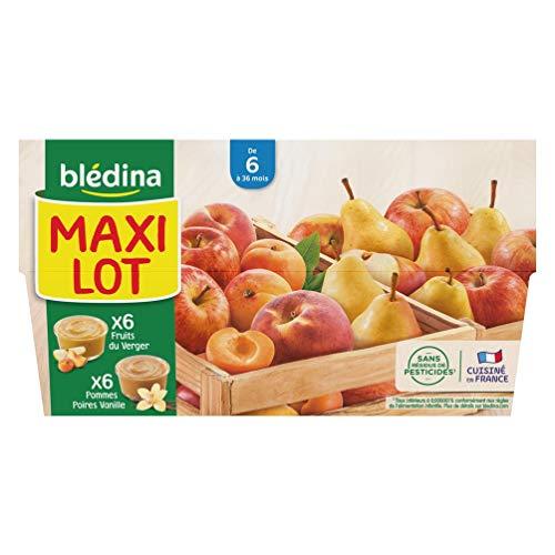 Blédina, Purée de Fruits, Fruits du Verger, Pommes, Poires, Dès 6 Mois, 100g (Packx12)