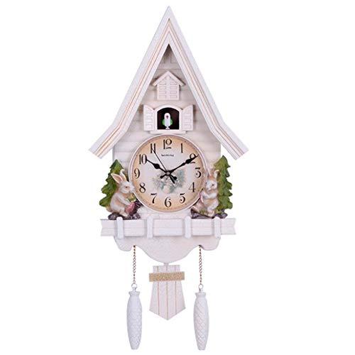 Reloj de pared de pájaro lindo, reloj de pared de cuarzo, reloj despertador de cuco, reloj de sala de estar, breve decoración de dormitorio para niños, relojes de alarma para el día en el hogar,Blanco