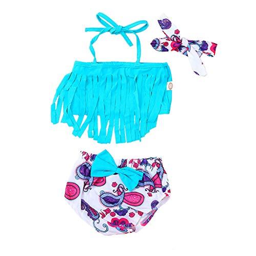 Bikini para niños Traje de baño con borlas + Bañador con Estampado de Dibujos Animados + Juego de 3 Piezas de Lazo para el Cabello