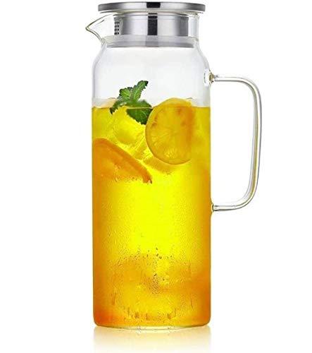 Webao Karaffen Borosilikatglas mit Deckel Edelstahl Glaskanne Wasserkaraffe für Milch Kaffee Wein Getränke 1200ml