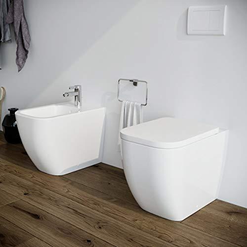 Sanitari bagno Bidet e Vaso WC filomuro a terra in...