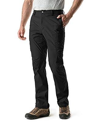 CQR Men's Hiking Pants, Water Repellent Outdoor Pants, Lightweight Stretch Cargo/Straight Work Pants, UPF 50+ Outdoor Apparel, Driflex Cargo(txp401) - Black, 34W x 30L
