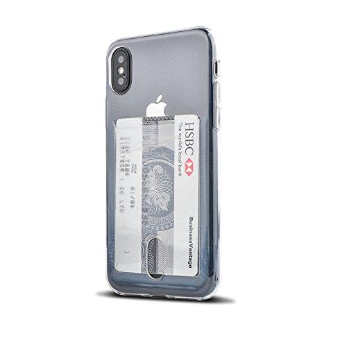Wormcase ® Kunststoffhülle mit Kartenfach kompatibel mit iPhone 10/X oder XS in der Farbe Transparent - TPU Schale Back-Cover Schutz-Tasche Kratzfest Stoßfest Bumper Crystal-Clear dünn leicht schmal