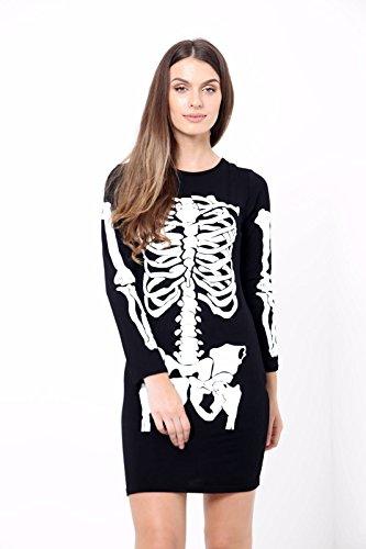Generic - Costume de Déguisement Femme Robe Moulante Motif Squelette - Neuf - Noir, 36-38