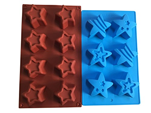 2 Star Shaped Silicone Molds – Patriotic Party Stars Soap Mold – Bath Bombs Cake Baking Jello - 4th of July Holiday Shapes – by Jolly Jon