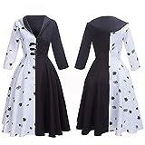 Anime Cruella De Vil Cosplay disfraz mujeres adultas vestido elegante negro blanco lunares vestido de mucama Sudadera con capucha Victoria falda Halloween
