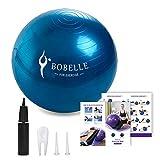 Bobelle Pelota de Ejercicio,Gym Ball Bola para Pilates,Anti-Burst para Yoga,Equilibrio,Fitness,Entrenamiento,Incluidos Bomba,65cm 75cm (Azul, 65cm)