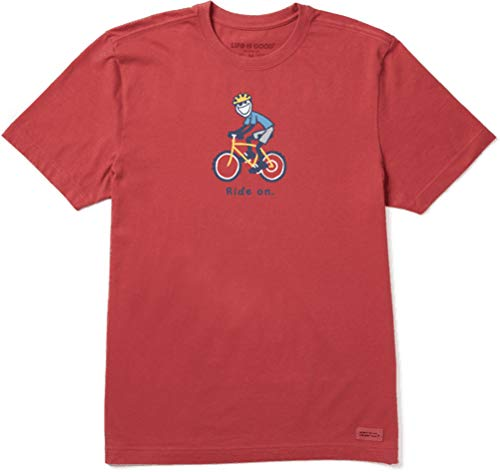Life is Good Mens Vintage Crusher Outdoor Jake Graphic T-Shirt, Bike Faded Red, Medium
