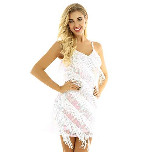 ranrann Vestido de Baile Latino Flecos para Mujer Vestido de Tango Salsa Rumba Lentejuelas Traje de Baile de Saln Cha Cha Disfraz Fiesta Noche Dancewear Blanco One_Size