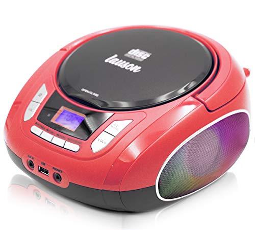 Lauson NXT962 Tragbarer CD-Player mit LED-Discolichter, CD-Radio, Boombox, CD Player für Kinder, kinderradio mit cd und USB, Stereoanlage, LCD-Display, Netz & Batterie, (Rot)