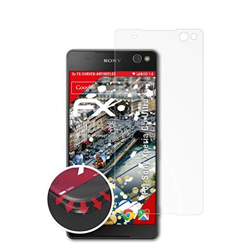 atFolix Schutzfolie kompatibel mit Sony Xperia C5 Ultra Folie, entspiegelnde & Flexible FX Bildschirmschutzfolie (3X)