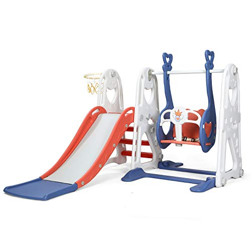Toddler Slide and Swing Set, 4 in 1 Kids Play Climber Slide Playset Indoor and Outdoor Playground, Slides for Kids Easy Climb Stairs Easy Set Up with Basketball Hoop Extra Ball (White&Blue)