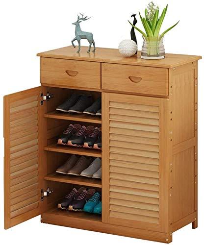 Ranuras de zapato ajustables Organizador Bastidore Estante de zapatos Estantería de zapatos de madera de madera, muebles de gabinete, diseño multifuncional, con 2 cajones, 4 capas, almacenamiento de z