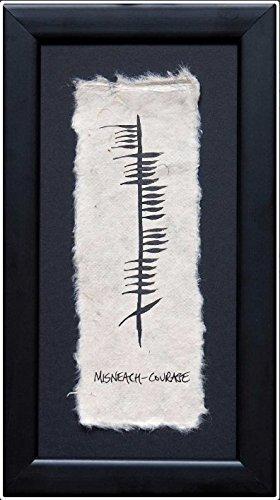 Ogham Wishes Wandbild Misneach - Courage - Mut, gerahmt, handgemalt auf handgeschöpftem Papier