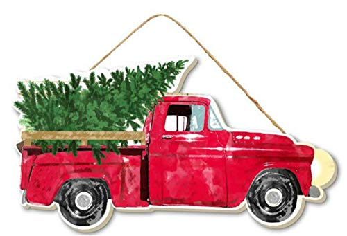 10' Wood Vintage Red Truck with Christmas Trees- Christmas Decor - Vintage Red Truck Wall or Door Hanger