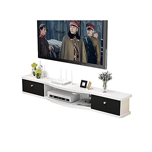 Gabinete de TV, TV Lowboard, estantes flotantes, TV Montado en la pared Consola de medios, 100/120/140 / 160cm, para Xbox / Routers / Remotes / reproductores de DVD, actualización fácil de instalar.