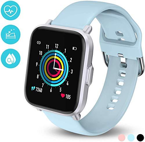 Smartwatch,Fitness Armbanduhr mit Blutdruck Messgeräte,Pulsoximeter,Pulsuhren Fitness Uhr Wasserdicht IP68 Fitness Tracker Schrittzähler Uhr für Damen Herren Smart Watch für iOS Android Handy,Blau