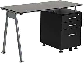Flash Furniture Black Glass Computer Desk with Three Drawer Pedestal