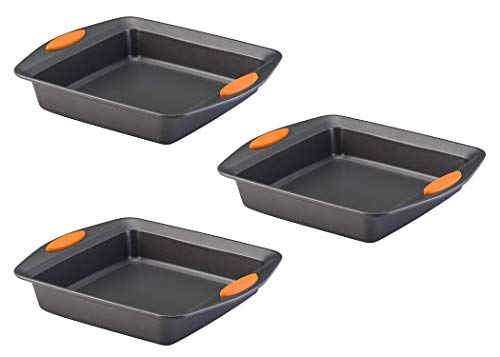 Rachael Ray 54074 Yum -o! Nonstick Bakeware Baking Pan/Nonstick Cake Pan, Square – 9 Inch, Gray, Pack 3