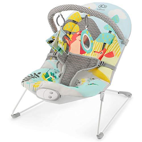 Kinderkraft Babyliege MILYFUN, Babywippe, Babyschaukel, Licht, Einfach zu Transportieren, mit Spielbogen, Spielzeugen, 8 Melodien und 3 Vibrationsstufen, 3 Punkt Gurte, für Kinder bis 9 kg