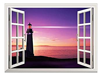 wall26 - Self-Adhesive Wallpaper Large Wall Mural Series  24 x32  Beautiful Seascape of Lighthouse