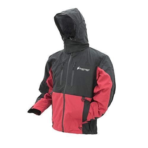 FROGG TOGGS Men's Pilot II Guide Waterproof Breathable Rain Jacket , Red/Black, Large