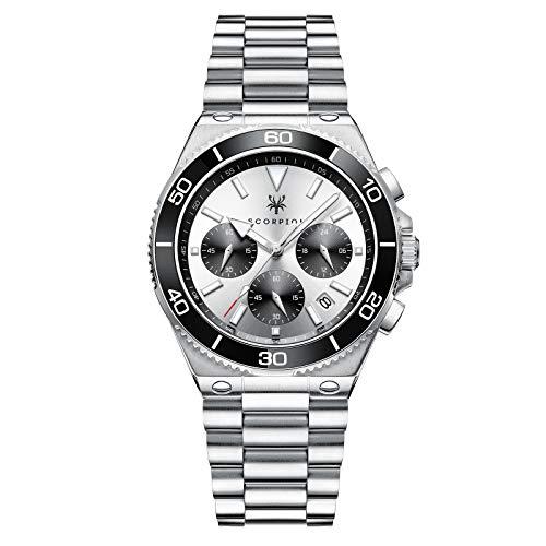Herrenuhr Madrid - 41mm Gehäuse - Scorpion Watches - Silber/Schwarzes Zifferblatt - Silber - Edelstahl - Quarz