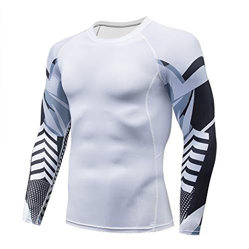 RANTA 2020 Sales Funktionsshirt Herren Langarm Patchwork Stretch FunktionsunterwäSche Compression Shirt Men Kompressionsshirt Wandershirt Atmungsaktiv Sweatshirt Laufshirt