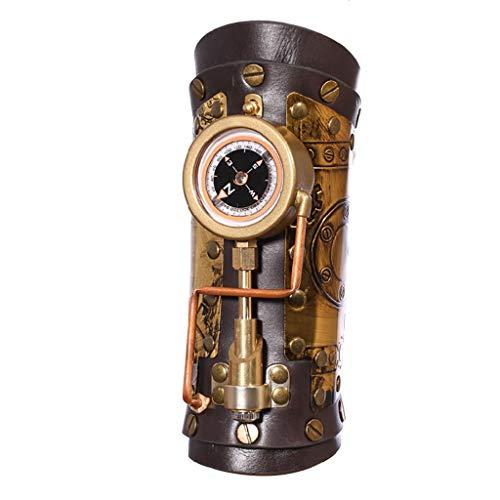 Unisex Arm Steampunk PU Leder Metall Industrie Stil Outdoor Kompass Arm Ring Geeignet Für Halloween, Maskerade, Party Requisiten Schwarz