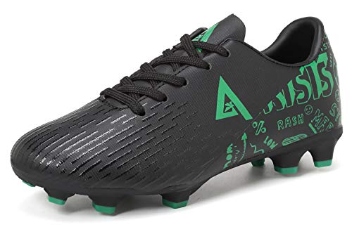 ANLUKE Kids Boys Athletic Outdoor Football Cleats Firm Ground Soccer Shoes Black 30