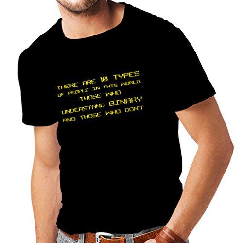 lepni.me Camisetas Hombre Tipos de Personas Que Entienden el código Binario, Chistes de programadores (XXL Negro Amarillo)
