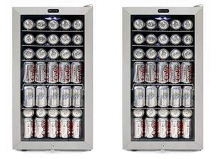 Whynter BR-128WS Lock, 120 Can Capacity, Stainless Steel Beverage Refrigerator, White (2-(Pack))