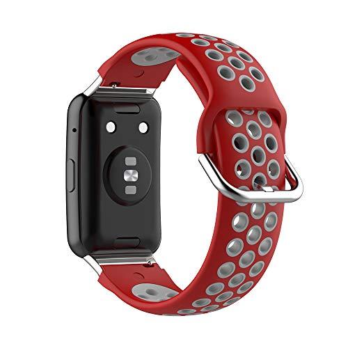 KINOEHOO Correas para relojes Compatible con Huawei Watch Fit Pulseras de repuesto.Correas para relojesde siliCompatible cona.(Gris rojo)